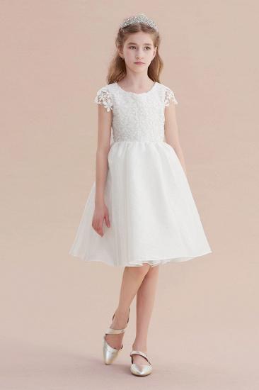 BMbridal A-Line Cap Sleeve Lace Bow Flower Girl Dress On Sale_4