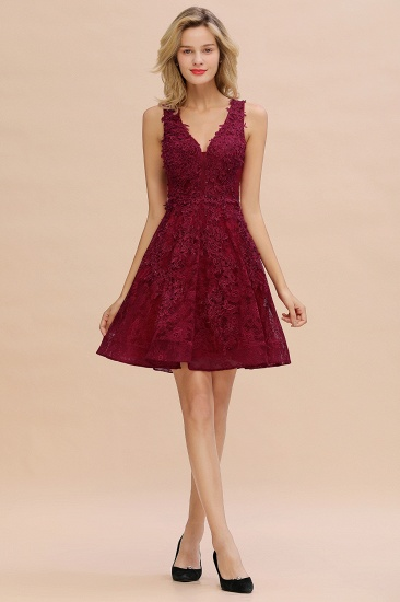 BMbridal Burgundy Sleeveless Lace Short Prom Dress Mini Party Gowns Online_17