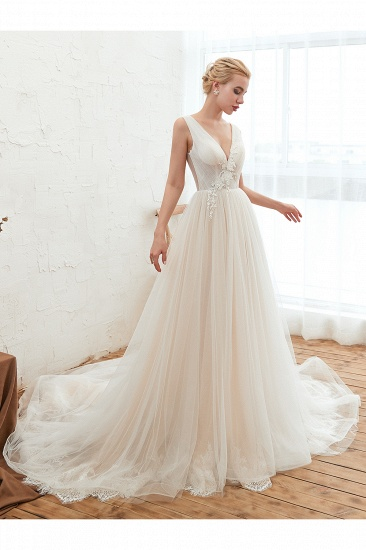 Affordable Tulle V-Neck Ruffle Long Wedding Dress with Appliques_5