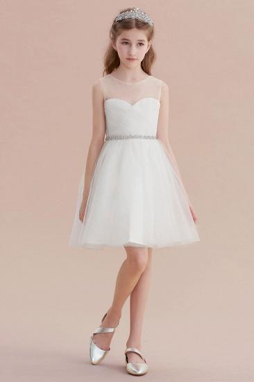 BMbridal A-Line Illusion Knee Length Tulle Flower Girl Dress Online_1