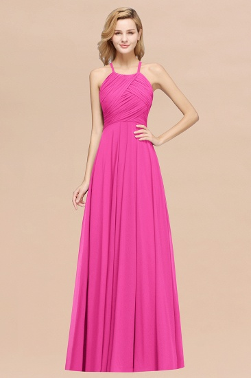Halter Crisscross Pleated Bridesmaid Dress Blue Chiffon Sleeveless Maid of Honor Dress_9