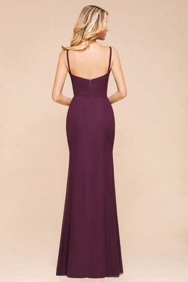 Fantastic Spaghetti Straps V-Neck Grape Bridesmaid Dress with Ruffle_3