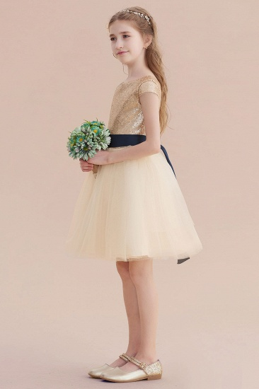 BMbridal A-Line Sequins Tulle Cap Sleeve Flower Girl Dress Online_6