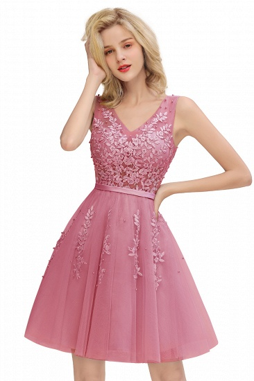 BMbridal Elegant V-Neck Sleeveless Short Prom Dress Mini Homecoming Dress With Lace Appliques_11