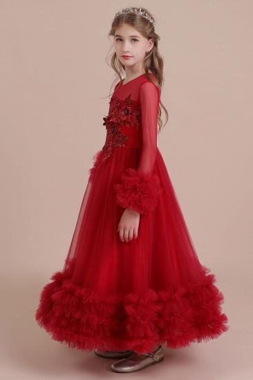 BMbridal A-Line Long Sleeve Applique Tulle Flower Girl Dress On Sale_6