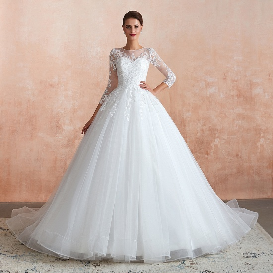 Affordable Lace Jewel White Tulle Wedding Dresses with 3/4 Sleeves_3