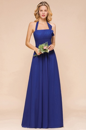 Stylish Halter Open Back Ruffle Bridesmaid Dress