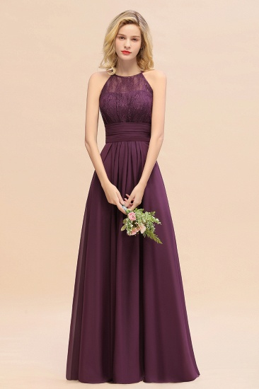 Elegant Halter Ruffles Sleeveless Grape Lace Bridesmaid Dresses Cheap_55