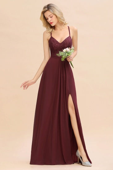 Elegant CrissCross Back Burgundy Lace Bridesmaid Dress With Spaghetti Straps_6