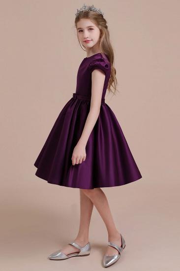 BMbridal A-Line Graceful Cap Sleeve Satin Flower Girl Dress Online_4