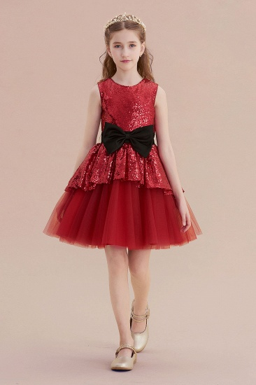 BMbridal A-Line Bows Sequins Tulle Flower Girl Dress On Sale_4