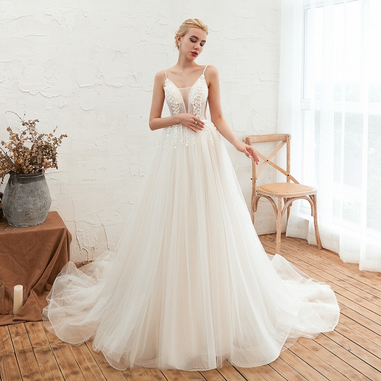 Chic Spaghetti Straps V-Neck Ivory Tulle Wedding Dresses with Appliques_9