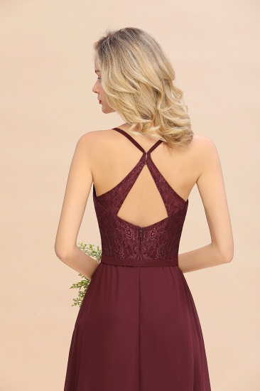 Elegant CrissCross Back Burgundy Lace Bridesmaid Dress With Spaghetti Straps_9