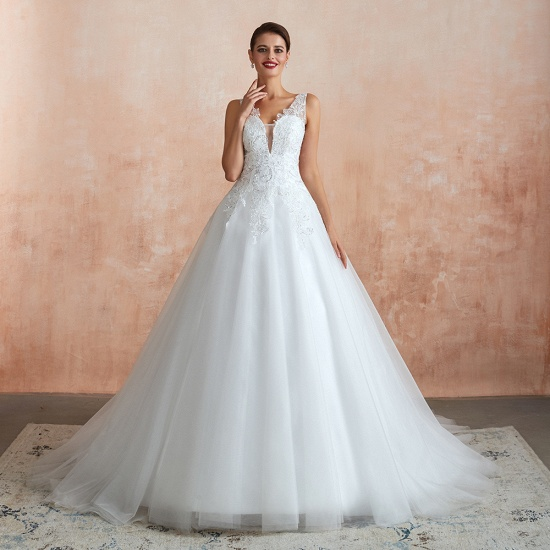 Fantastic Tulle Appliques Sleeveless White Wedding Dresses Online_8