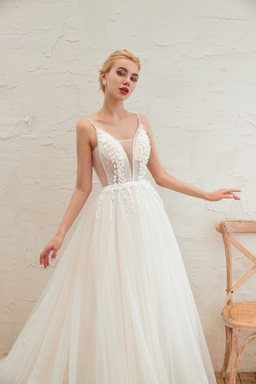Chic Spaghetti Straps V-Neck Ivory Tulle Wedding Dresses with Appliques_13