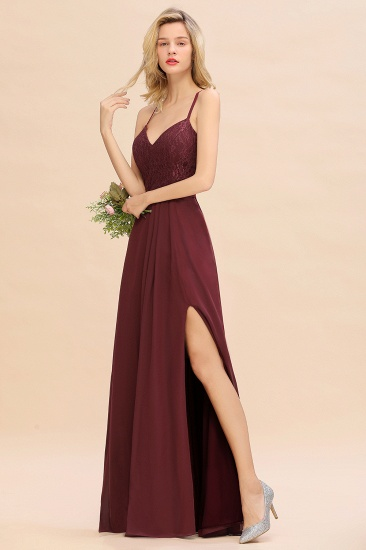 Elegant CrissCross Back Burgundy Lace Bridesmaid Dress With Spaghetti Straps_4