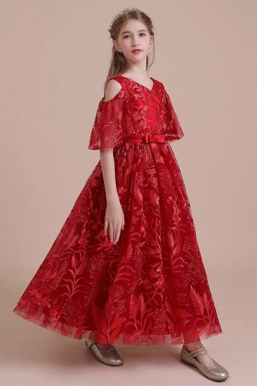 BMbridal A-Line V-neck Tulle Cold-shoulder Flower Girl Dress On Sale_7