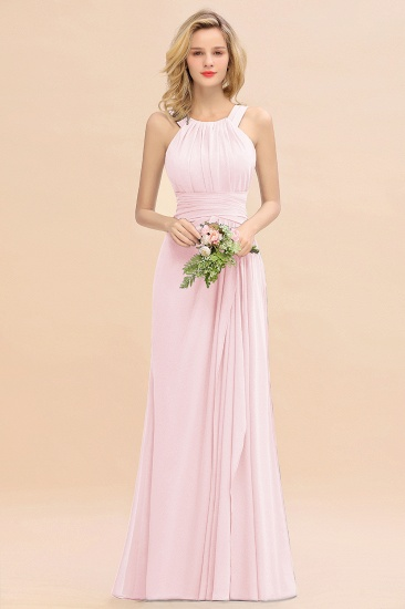 Elegant Round Neck Sleeveless Stormy Bridesmaid Dress with Ruffles_3