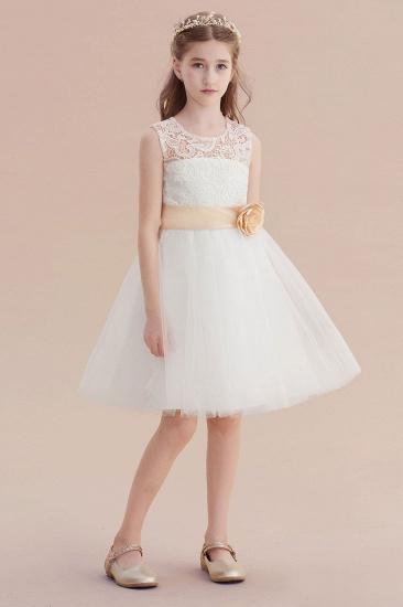 BMbridal A-Line Lace Tulle Knee Length Dress Flower Girl Dress Online_6