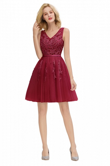 BMbridal Elegant V-Neck Sleeveless Short Prom Dress Mini Homecoming Dress With Lace Appliques_26