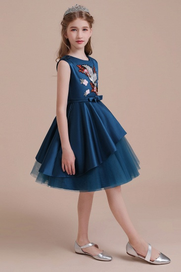 BMbridal A-Line Embroidered Satin Tulle Flower Girl Dress On Sale_7