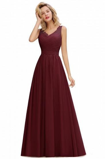 BMbridal A-line Chiffon Lace V-Neck Ruffles Bridesmaid Dress_3