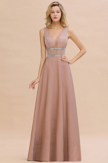 Shinning V-Neck Sleeveless Long Prom Dress Online With Zipper Back_1