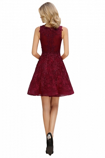 BMbridal Burgundy Sleeveless Lace Short Prom Dress Mini Party Gowns Online_11