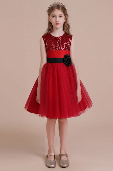 BMbridal A-Line Graceful Sequins Tulle Flower Girl Dress Online_4