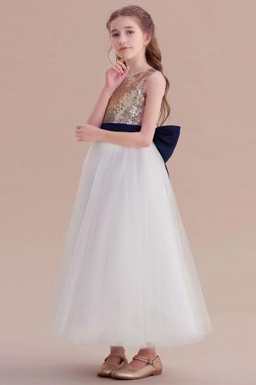 BMbridal A-Line Bow Sequins Ankle Length Flower Girl Dress Online_6