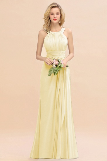 Elegant Round Neck Sleeveless Stormy Bridesmaid Dress with Ruffles_18
