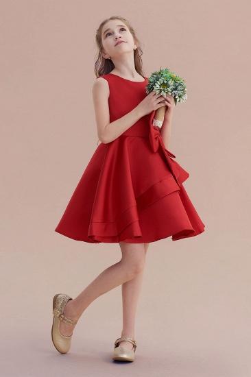 BMbridal A-Line Chic Bow Satin Knee Length Flower Girl Dress On Sale_5