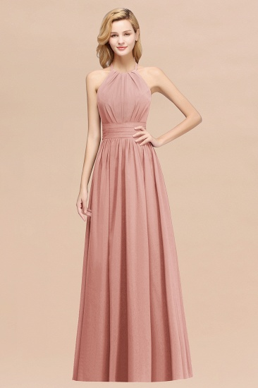 Elegant High-Neck Halter Long Affordable Bridesmaid Dresses with Ruffles_50