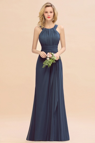 Elegant Round Neck Sleeveless Stormy Bridesmaid Dress with Ruffles_39