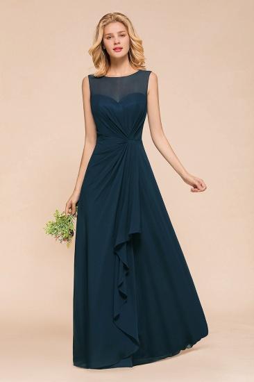 BMbridal Beautiful Chiffon Jewel Ruffle Navy Affordable Bridesmaid Dresses Online_4