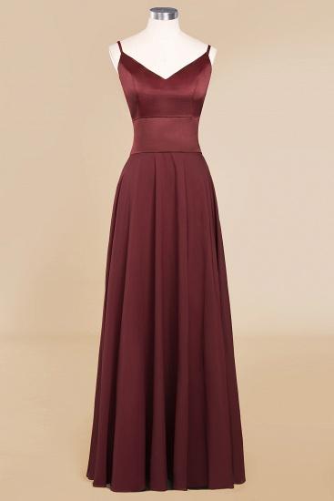 BMbridal Simple Satin Chiffon Spaghetti-Straps Burgundy Long Bridesmaid Dress_10