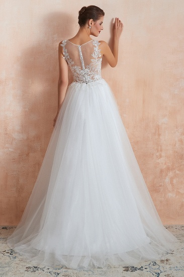 Exquisite Sequins White Tulle Affordable Wedding Dresses with Appliques_3