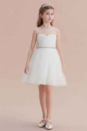 BMbridal A-Line Illusion Knee Length Tulle Flower Girl Dress Online_5
