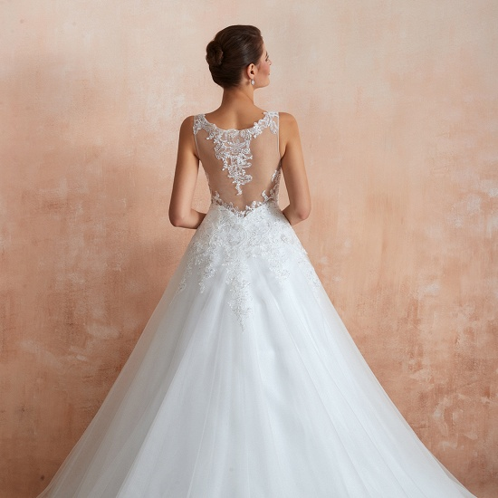 Fantastic Tulle Appliques Sleeveless White Wedding Dresses Online_10