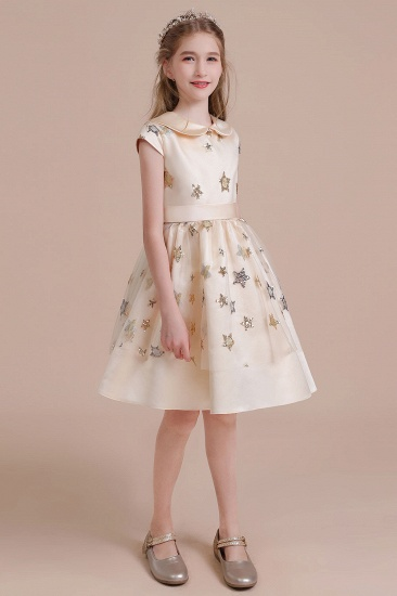 BMbridal A-Line Cap Sleeve Star Sequins Tulle Flower Girl Dress Online_6