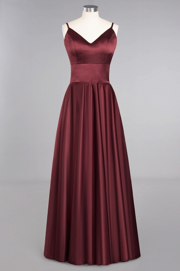 Chic Spaghetti-Straps Burgundy Satin Long Bridesmaid Dress Online_10