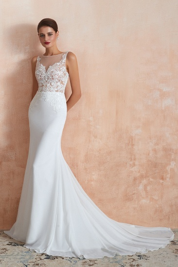 BMbridal Beautiful Mermaid V-Neck White Lace Wedding Dresses Affordable Online_5
