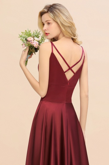 Chic Spaghetti-Straps Burgundy Satin Long Bridesmaid Dress Online_9