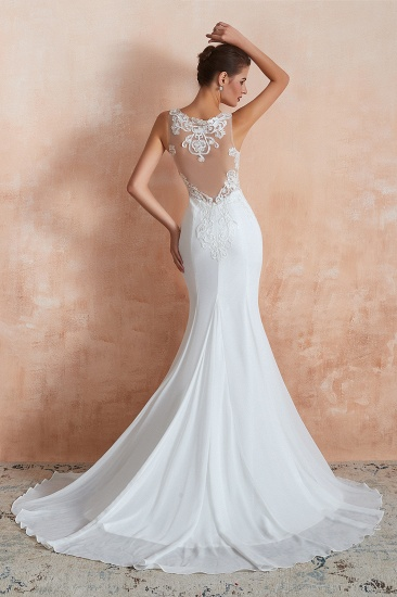 BMbridal Beautiful Mermaid V-Neck White Lace Wedding Dresses Affordable Online_3