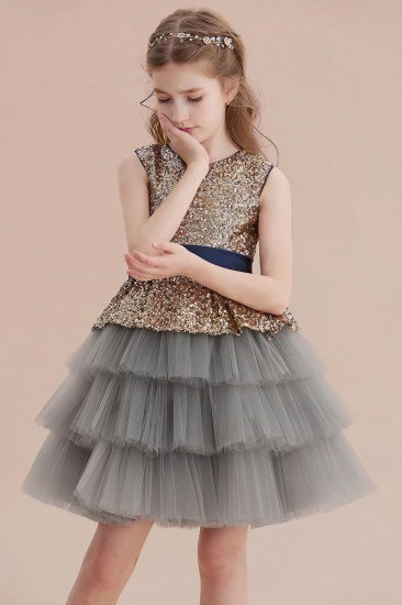 BMbridal A-Line Sequins Tulle Knee Length Flower Girl Dress On Sale_8