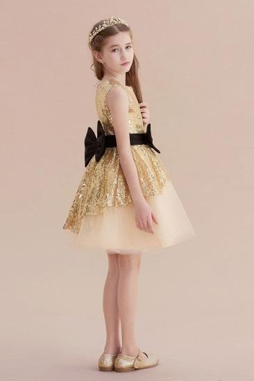 BMbridal A-Line Tulle Sequins Bows Knee Length Flower Girl Dress On Sale_7