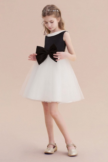 BMbridal A-Line Affordable Bow Tulle Flower Girl Dress On Sale_6
