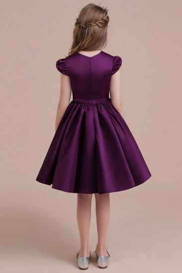 BMbridal A-Line Graceful Cap Sleeve Satin Flower Girl Dress Online_3
