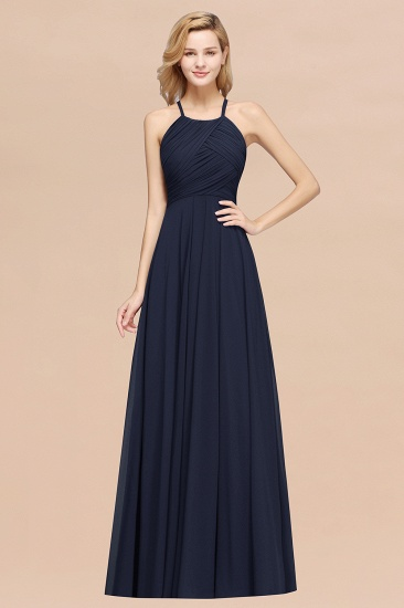 Halter Crisscross Pleated Bridesmaid Dress Blue Chiffon Sleeveless Maid of Honor Dress_28