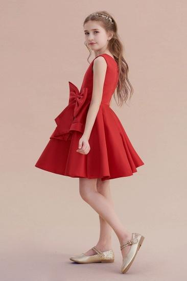 BMbridal A-Line Chic Bow Satin Knee Length Flower Girl Dress On Sale_7